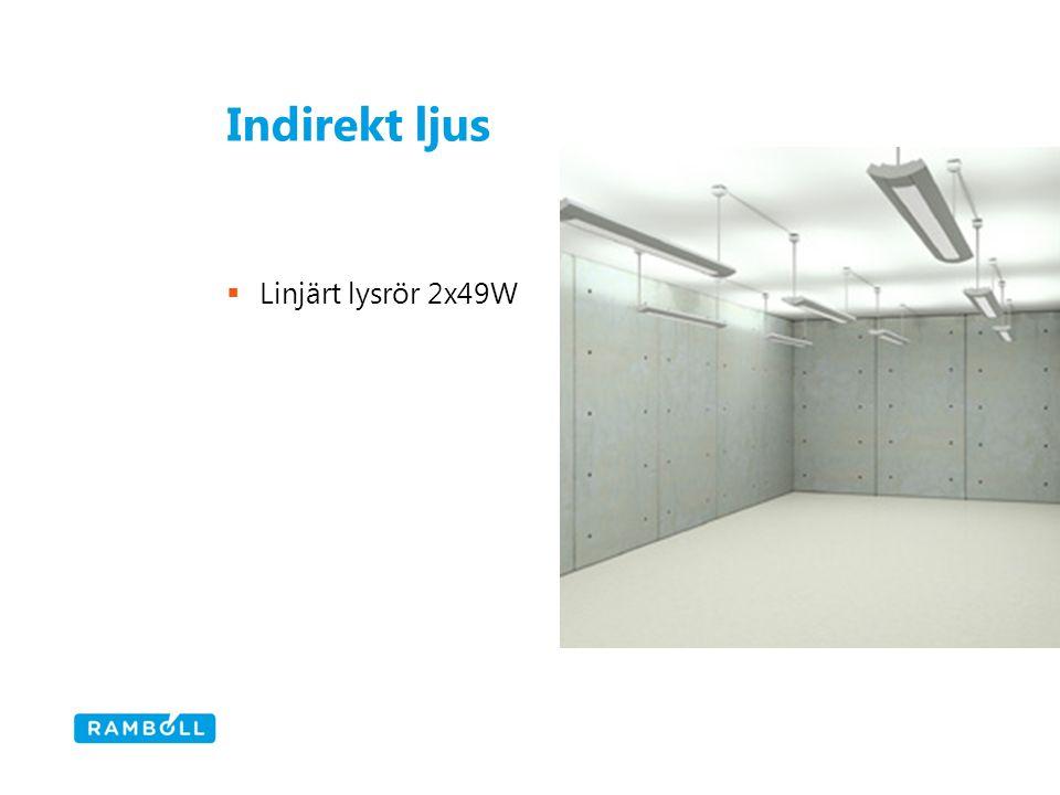 Indirekt ljus  Linjärt lysrör 2x49W