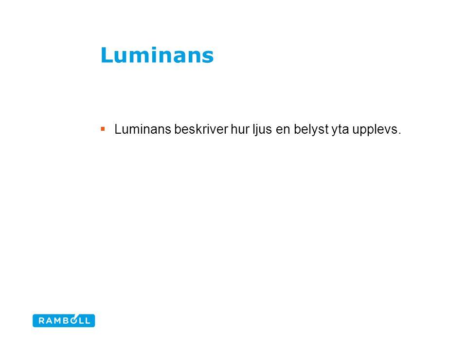 Luminans  Luminans beskriver hur ljus en belyst yta upplevs.