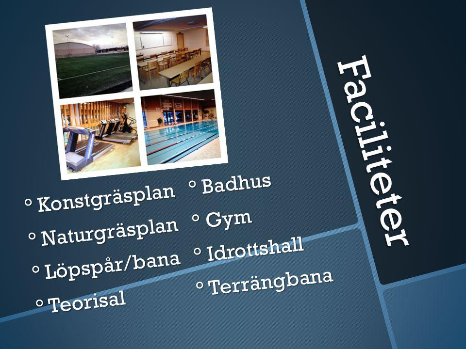 Faciliteter ° Konstgräsplan ° Badhus ° Naturgräsplan ° Gym ° Löpspår/bana ° Idrottshall ° Teorisal ° Terrängbana