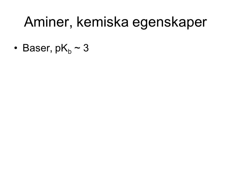 Aminer, kemiska egenskaper Baser, pK b ~ 3