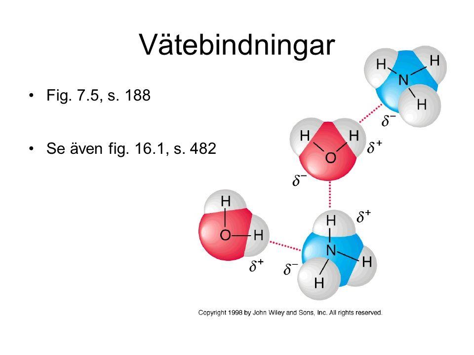 Vätebindningar Fig. 7.5, s. 188 Se även fig. 16.1, s. 482