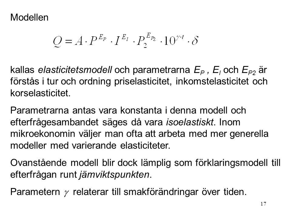17 Modellen kallas elasticitetsmodell och parametrarna E P, E I och E P2 är förstås i tur och ordning priselasticitet, inkomstelasticitet och korselas