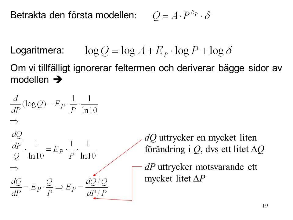 19 Betrakta den första modellen : Logaritmera: Om vi tillfälligt ignorerar feltermen och deriverar bägge sidor av modellen  dQ uttrycker en mycket li