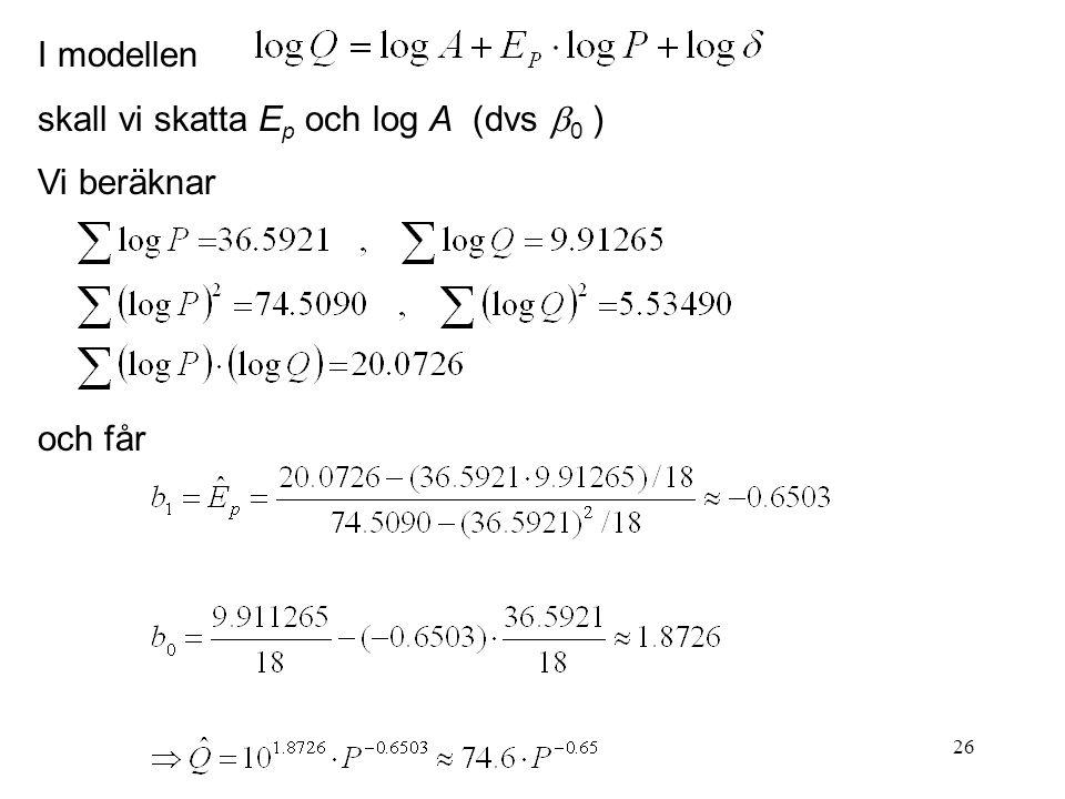 26 I modellen skall vi skatta E p och log A (dvs  0 ) Vi beräknar och får