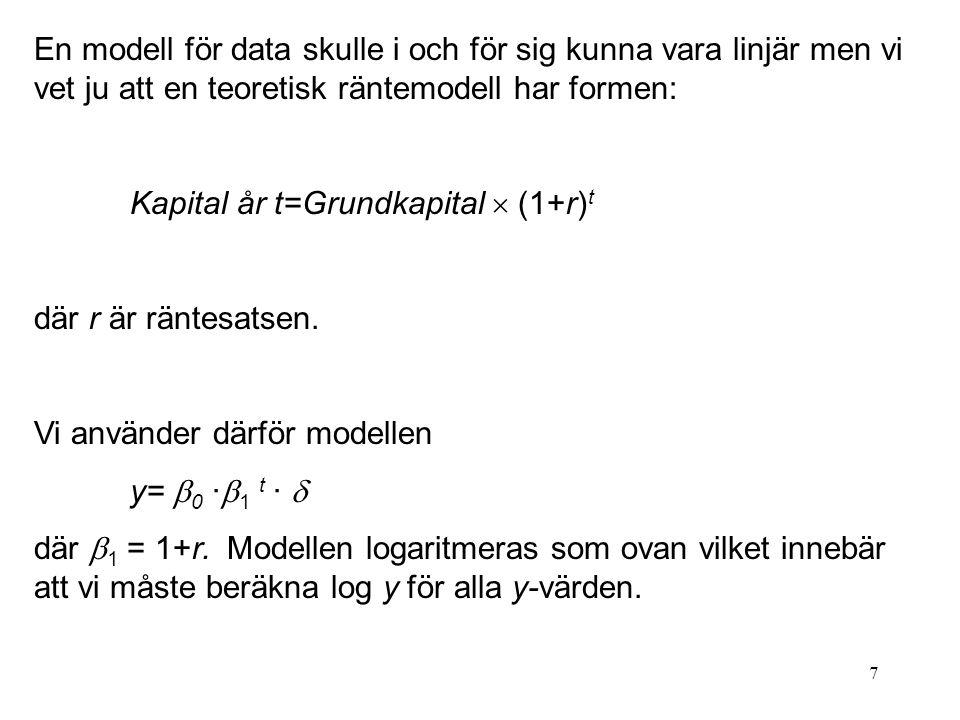 7 En modell för data skulle i och för sig kunna vara linjär men vi vet ju att en teoretisk räntemodell har formen: Kapital år t=Grundkapital  (1+r) t