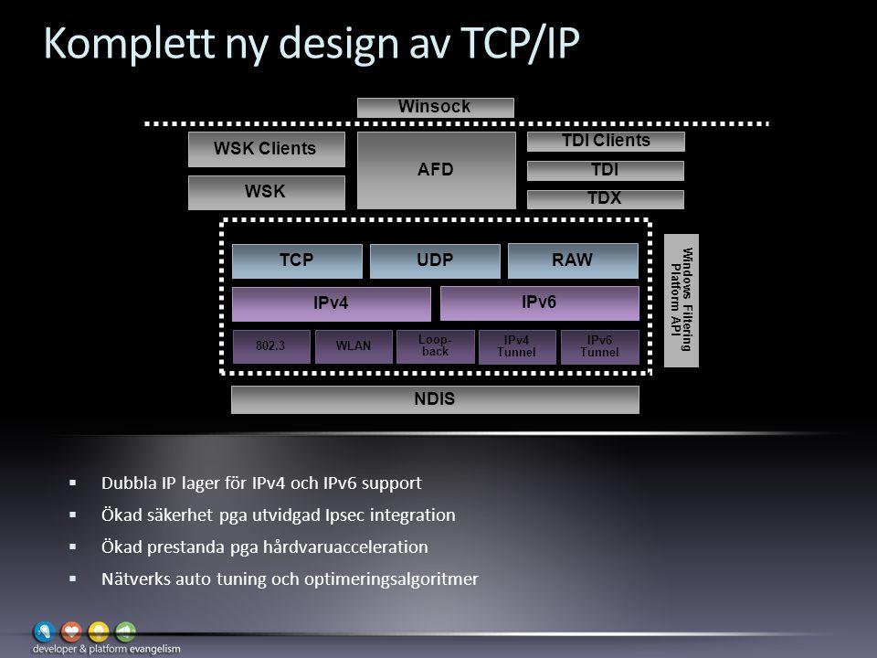 Komplett ny design av TCP/IP  Dubbla IP lager för IPv4 och IPv6 support  Ökad säkerhet pga utvidgad Ipsec integration  Ökad prestanda pga hårdvaruacceleration  Nätverks auto tuning och optimeringsalgoritmer Windows Filtering Platform API IPv4 802.3 WSK WSK Clients TDI Clients NDIS WLAN Loop- back IPv4 Tunnel IPv6 Tunnel IPv6 RAW UDPTCP Next Generation TCP/IP Stack (tcpip.sys) AFD TDX TDI Winsock User Mode Kernel Mode