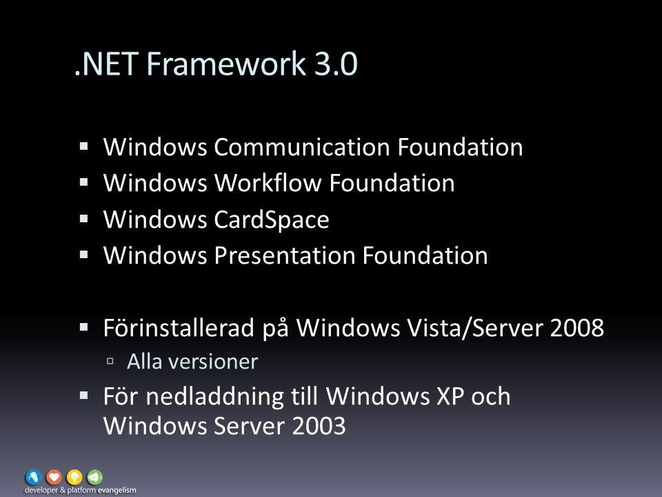 .NET Framework 3.0  Windows Communication Foundation  Windows Workflow Foundation  Windows CardSpace  Windows Presentation Foundation  Förinstallerad på Windows Vista/Server 2008  Alla versioner  För nedladdning till Windows XP och Windows Server 2003