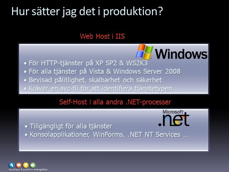Hur sätter jag det i produktion? Two options: Web Host i IIS För HTTP-tjänster på XP SP2 & WS2K3 För HTTP-tjänster på XP SP2 & WS2K3 För alla tjänster