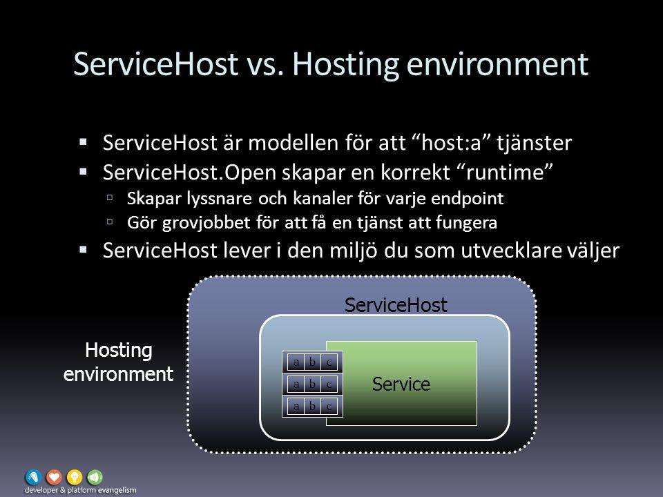 """ServiceHost vs. Hosting environment  ServiceHost är modellen för att """"host:a"""" tjänster  ServiceHost.Open skapar en korrekt """"runtime""""  Skapar lyssna"""