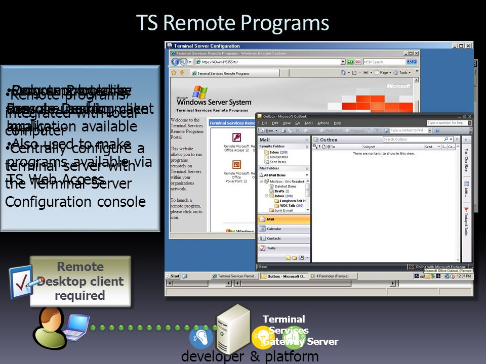 developer & platform evangelism TS Remote Programs Terminal Services Gateway Server Remote Desktop client required Remote programs integrated with local computer Centrally configure a terminal server with the Terminal Server Configuration console Remote programs integrated with local computer Centrally configure a terminal server with the Terminal Server Configuration console Remote Programs console used to make application available Also used to make programs available via TS Web Access Programs look like they are running locally Only supported by Remote Desktop client
