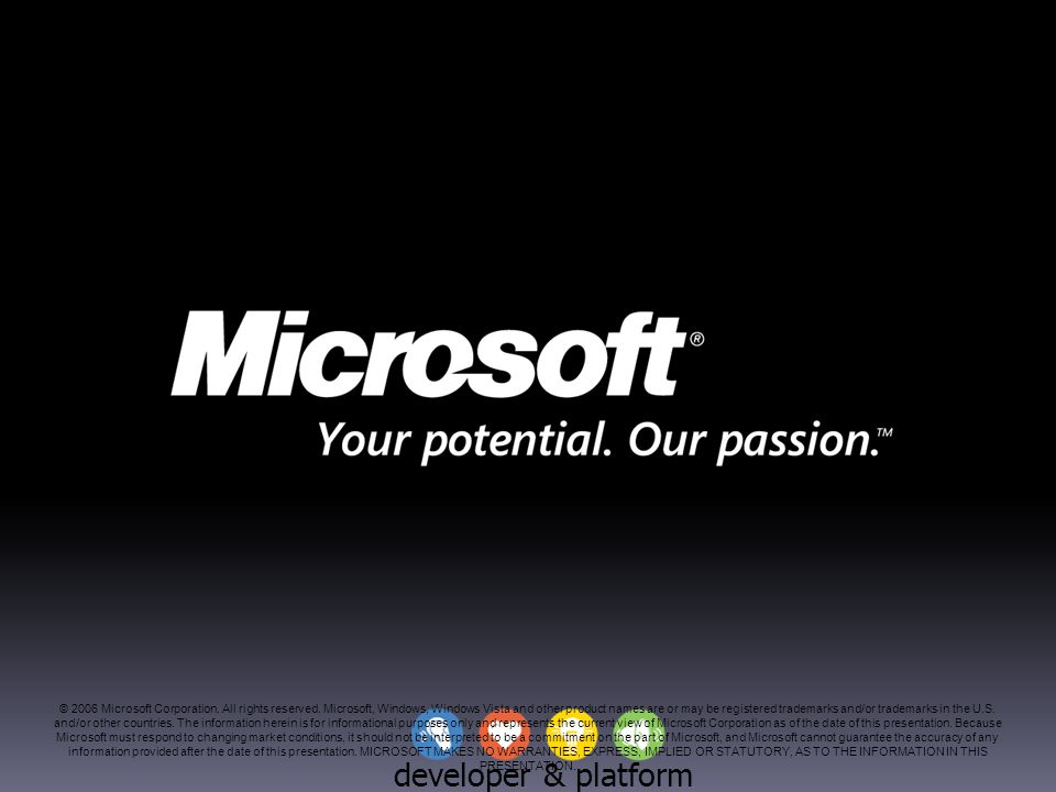 developer & platform evangelism © 2006 Microsoft Corporation. All rights reserved. Microsoft, Windows, Windows Vista and other product names are or ma