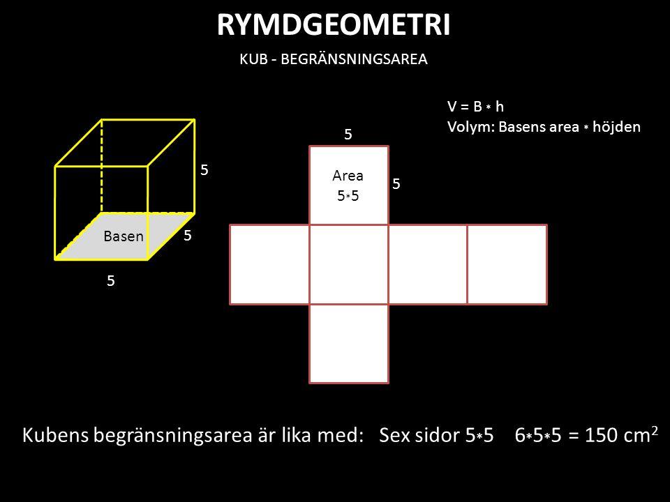 RYMDGEOMETRI Area 5 * 5 KUB - BEGRÄNSNINGSAREA Basen 5 5 5 5 5 Kubens begränsningsarea är lika med: Sex sidor 5 * 5 6 * 5 * 5 = 150 cm 2 V = B * h Vol