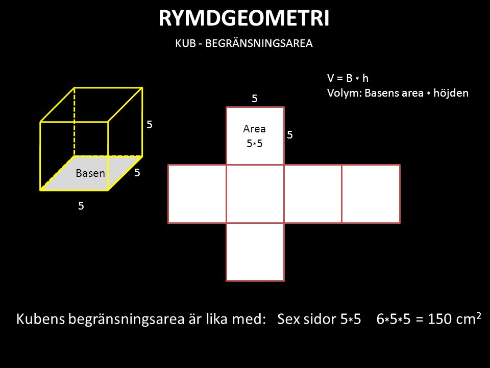 RYMDGEOMETRI KLOT h V cylinder = B · h B= r 2 · π h = 2 r