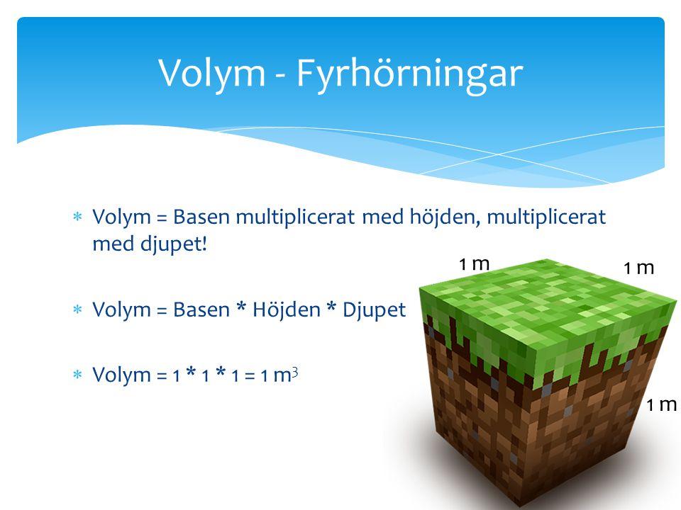 Volym = Basen multiplicerat med höjden, multiplicerat med djupet!  Volym = Basen * Höjden * Djupet  Volym = 1 * 1 * 1 = 1 m 3 Volym - Fyrhörningar