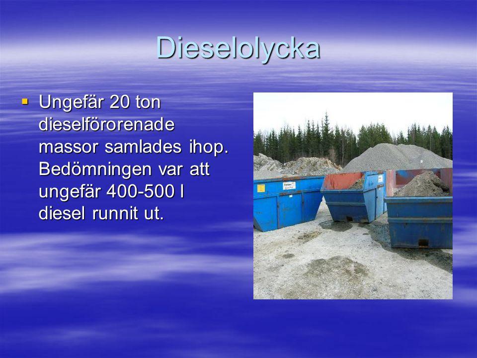 Dieselolycka  Ungefär 20 ton dieselförorenade massor samlades ihop.