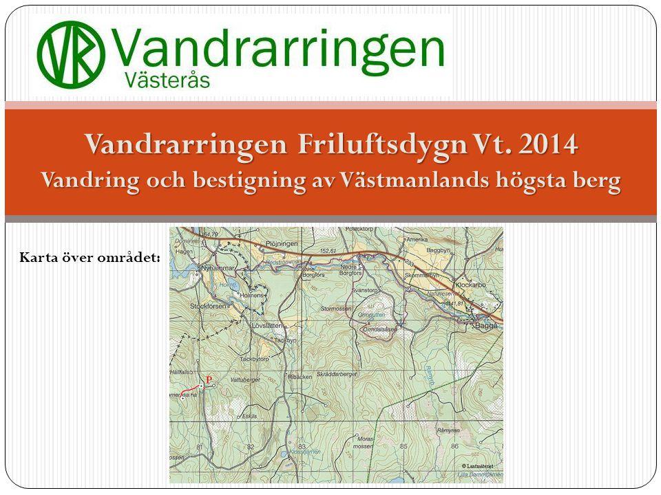 Karta över området: Vandrarringen Friluftsdygn Vt.