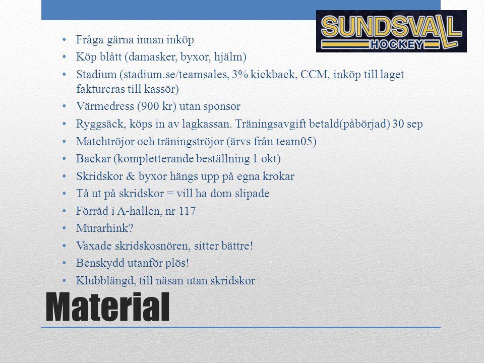 Material Fråga gärna innan inköp Köp blått (damasker, byxor, hjälm) Stadium (stadium.se/teamsales, 3% kickback, CCM, inköp till laget faktureras till