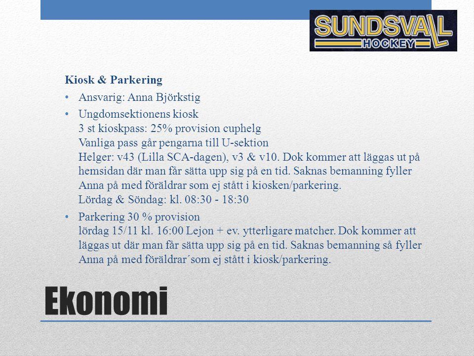 Ekonomi Kiosk & Parkering Ansvarig: Anna Björkstig Ungdomsektionens kiosk 3 st kioskpass: 25% provision cuphelg Vanliga pass går pengarna till U-sekti