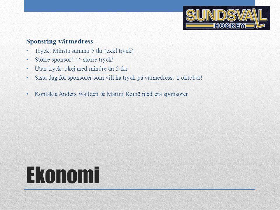 Ekonomi Sponsring värmedress Tryck: Minsta summa 5 tkr (exkl tryck) Större sponsor! => större tryck! Utan tryck: okej med mindre än 5 tkr Sista dag fö