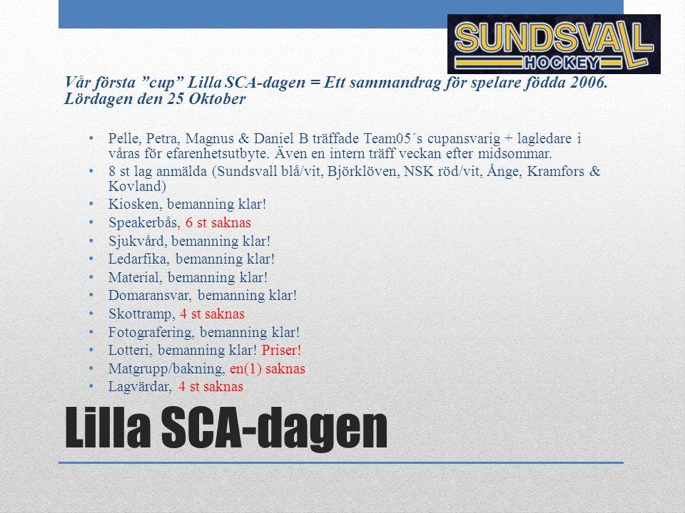 """Lilla SCA-dagen Vår första """"cup"""" Lilla SCA-dagen = Ett sammandrag för spelare födda 2006. Lördagen den 25 Oktober Pelle, Petra, Magnus & Daniel B träf"""