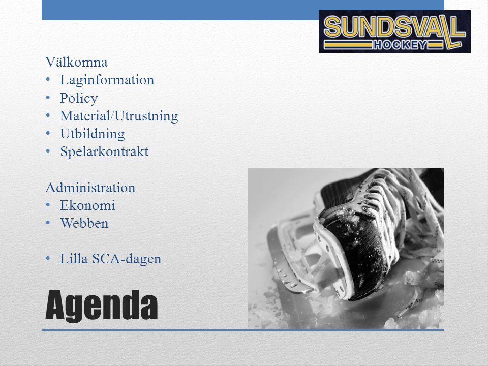 Agenda Välkomna Laginformation Policy Material/Utrustning Utbildning Spelarkontrakt Administration Ekonomi Webben Lilla SCA-dagen