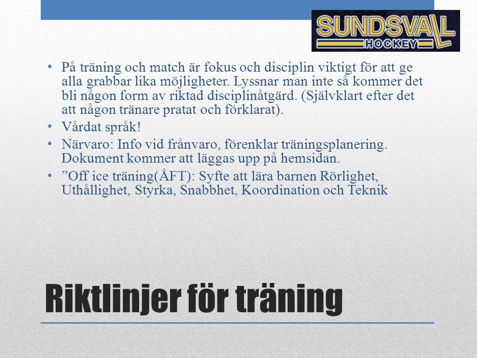 Riktlinjer för match Kallelse: Kallelse sker via hemsidan senast måndag före matchhelg.