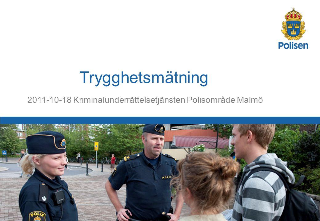 2 Polisområde Malmö Malmö- och Burlövs kommun Antal tillfrågade: 4500 personer Antal svarande: 2258 personer Andel svarande: 50,2% I ålder från 16 år tom 65+ Resultaten är indexerade 0 - 6