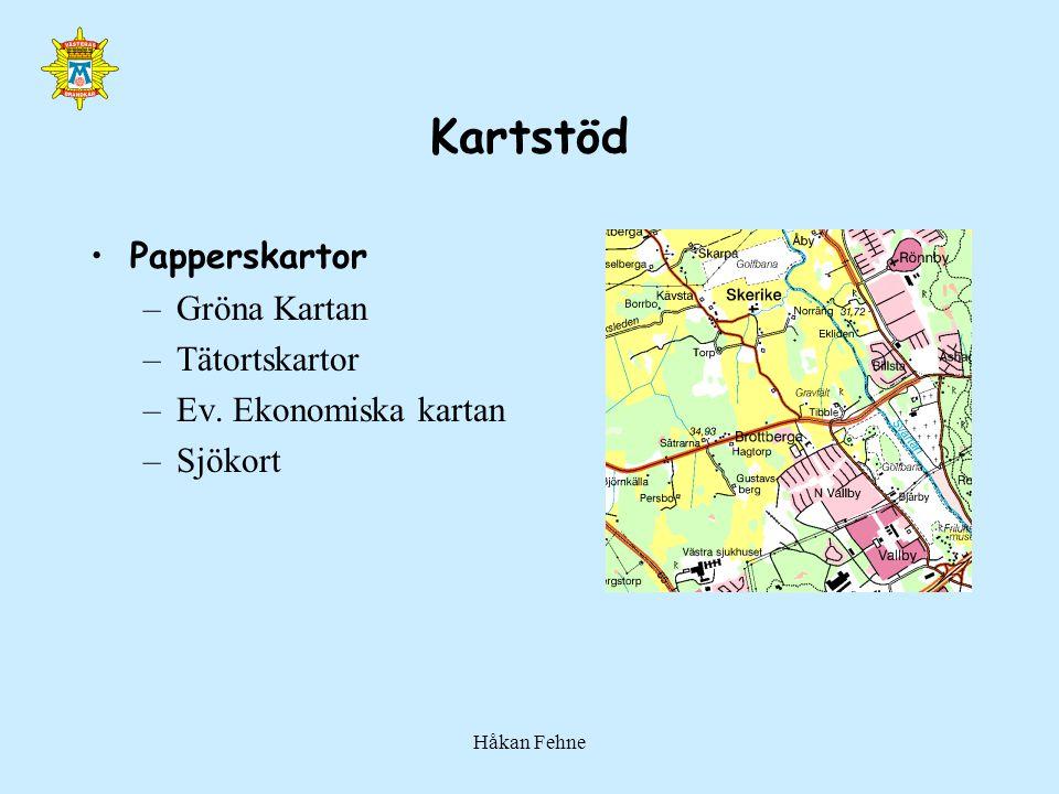 Håkan Fehne Kartstöd Papperskartor –Gröna Kartan –Tätortskartor –Ev. Ekonomiska kartan –Sjökort