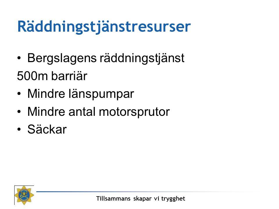 Räddningstjänstresurser Bergslagens räddningstjänst 500m barriär Mindre länspumpar Mindre antal motorsprutor Säckar Tillsammans skapar vi trygghet