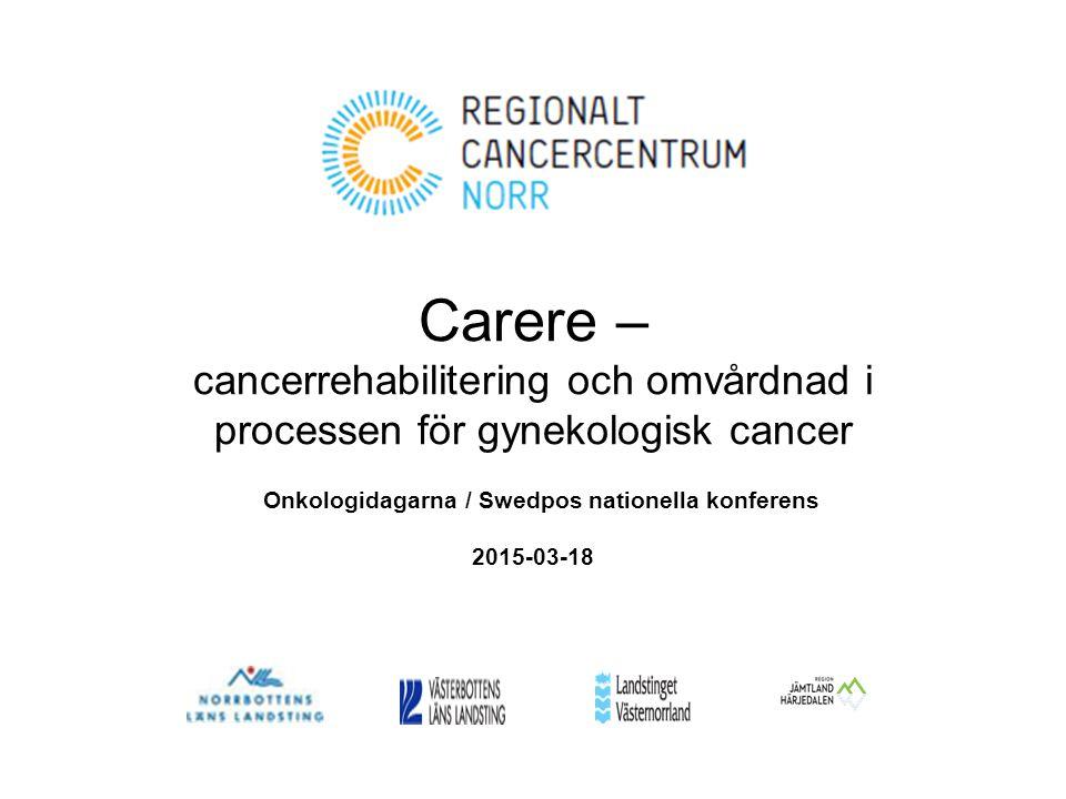 Carere – cancerrehabilitering och omvårdnad i processen för gynekologisk cancer Onkologidagarna / Swedpos nationella konferens 2015-03-18