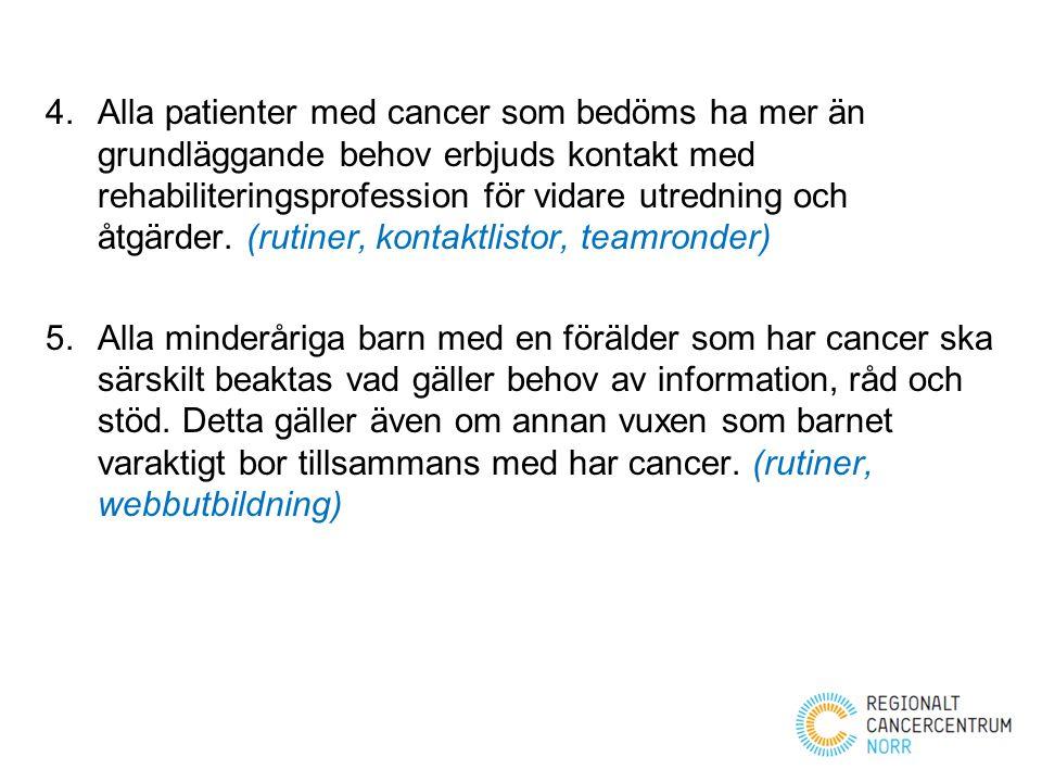 4.Alla patienter med cancer som bedöms ha mer än grundläggande behov erbjuds kontakt med rehabiliteringsprofession för vidare utredning och åtgärder.