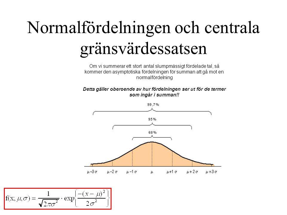 Normalfördelningen och centrala gränsvärdessatsen Om vi summerar ett stort antal slumpmässigt fördelade tal, så kommer den asymptotiska fördelningen f
