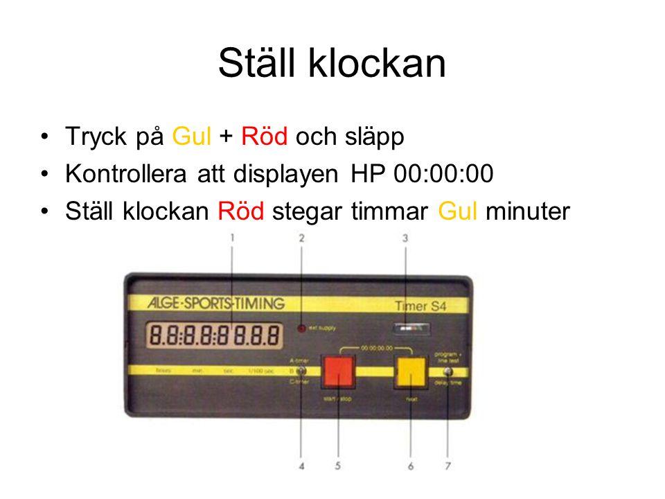 Ställ klockan Tryck på Gul + Röd och släpp Kontrollera att displayen HP 00:00:00 Ställ klockan Röd stegar timmar Gul minuter