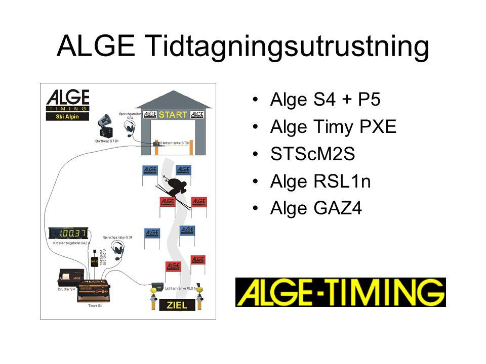 ALGE Tidtagningsutrustning Alge S4 + P5 Alge Timy PXE STScM2S Alge RSL1n Alge GAZ4