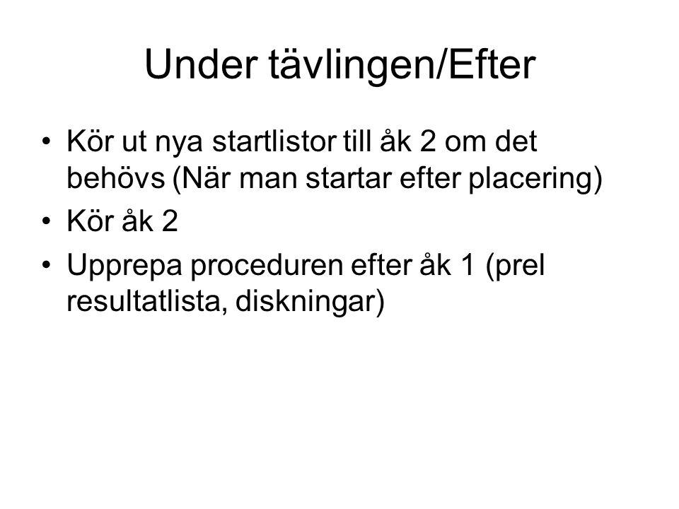 Under tävlingen/Efter Kör ut nya startlistor till åk 2 om det behövs (När man startar efter placering) Kör åk 2 Upprepa proceduren efter åk 1 (prel re