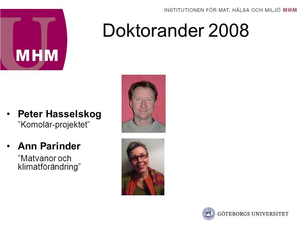 Doktorander 2008 Anna Post Flaskhalsar för användningen av ekologiska livsmedel inom storhushållssektorn Stefan Pettersson Idrottsnutrition Hillevi Prell Barn, mat och media
