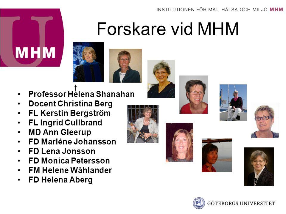 Forskare vid MHM Professor Helena Shanahan Docent Christina Berg FL Kerstin Bergström FL Ingrid Cullbrand MD Ann Gleerup FD Marléne Johansson FD Lena