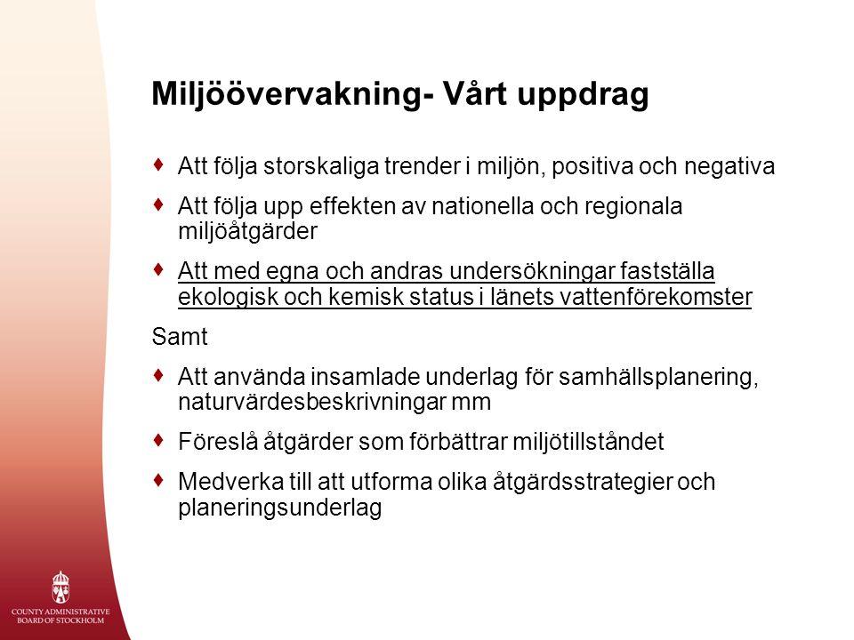Provtagning i Åkerströmmen Aktuell provtagning i Åkerströmmens avrinningsområde  Vattenkemi, Garnsviken 12 ggr /år (4 ggr/år)  Vattenkemi, Sparren 1 ggr/år  Inventering av vattenväxter Garnsviken, Sparren (1/6/ÅR)  Extensiv vattenkemisk karaktärisering vid 5 stationer i vattendrag, 4ggr/år  Påväxtalger i vattendrag vid 5 stationer
