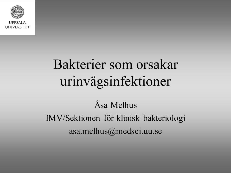 Bakterier som orsakar urinvägsinfektioner Åsa Melhus IMV/Sektionen för klinisk bakteriologi asa.melhus@medsci.uu.se