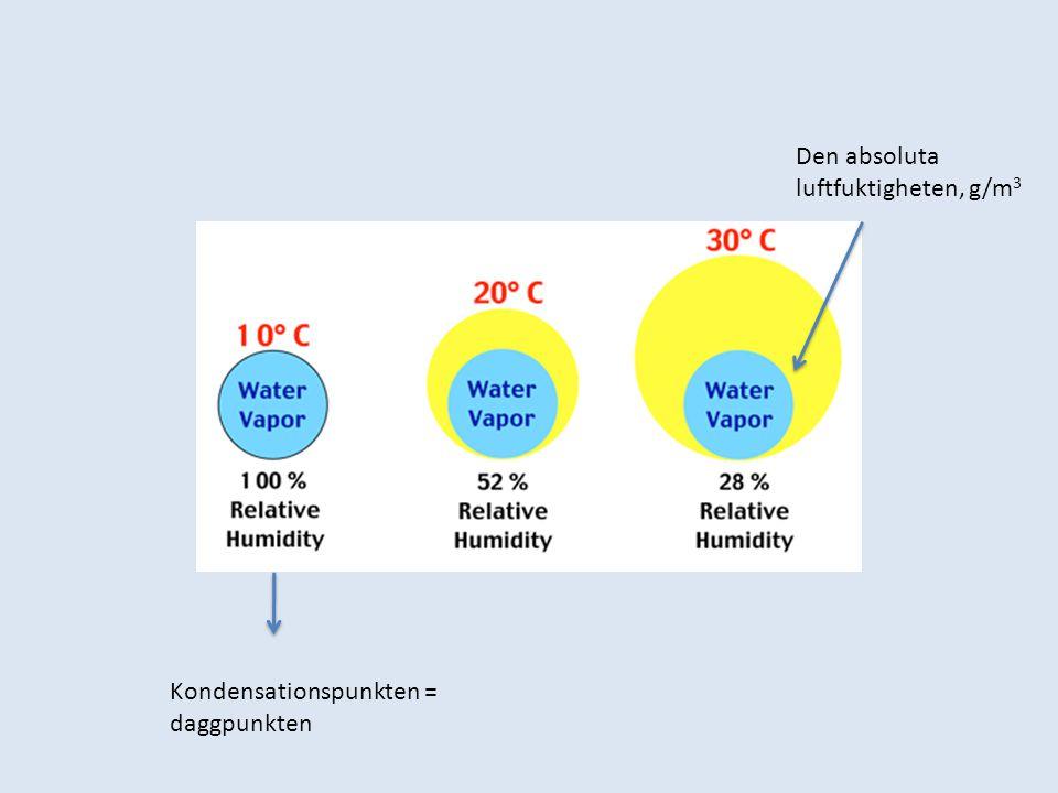 Den absoluta luftfuktigheten, g/m 3 Kondensationspunkten = daggpunkten