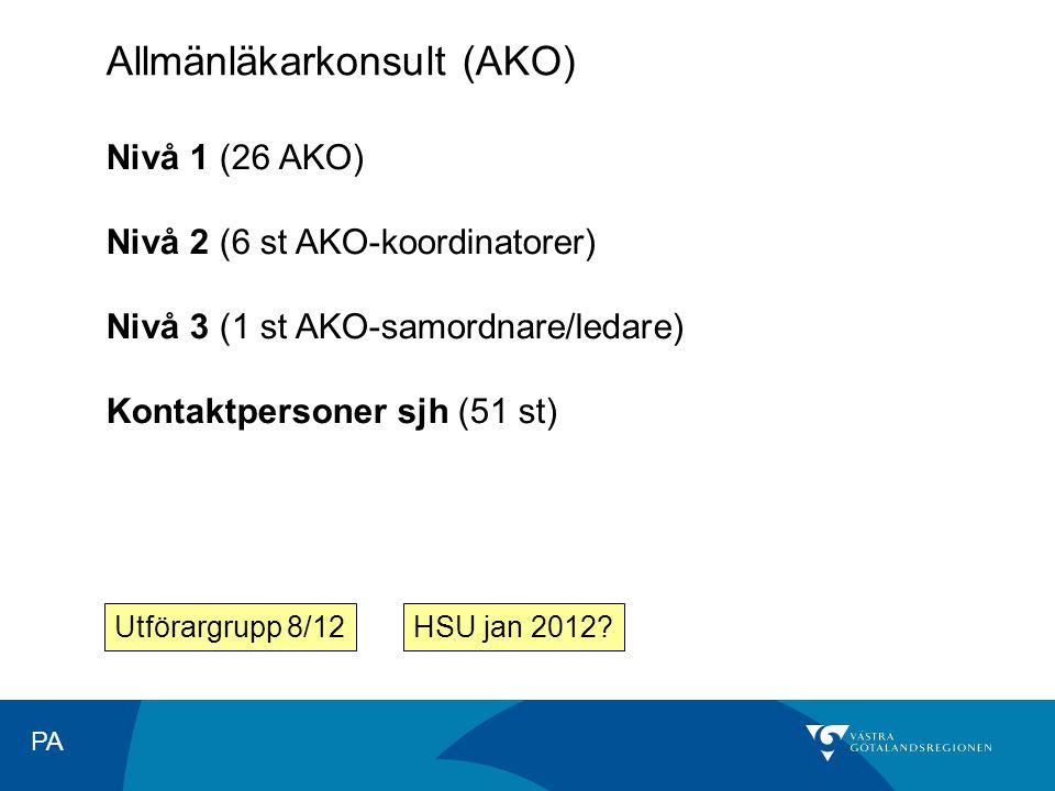 PA Allmänläkarkonsult (AKO) Nivå 1 (26 AKO) Nivå 2 (6 st AKO-koordinatorer) Nivå 3 (1 st AKO-samordnare/ledare) Kontaktpersoner sjh (51 st) Utförargrupp 8/12HSU jan 2012