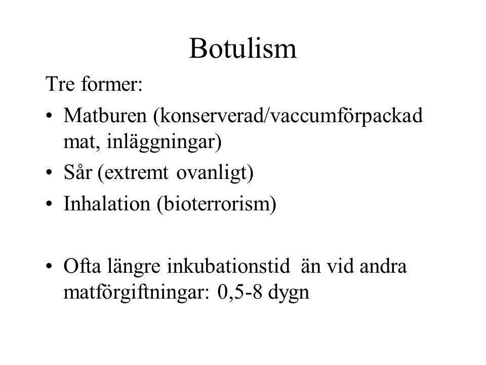 Botulism Tre former: Matburen (konserverad/vaccumförpackad mat, inläggningar) Sår (extremt ovanligt) Inhalation (bioterrorism) Ofta längre inkubations