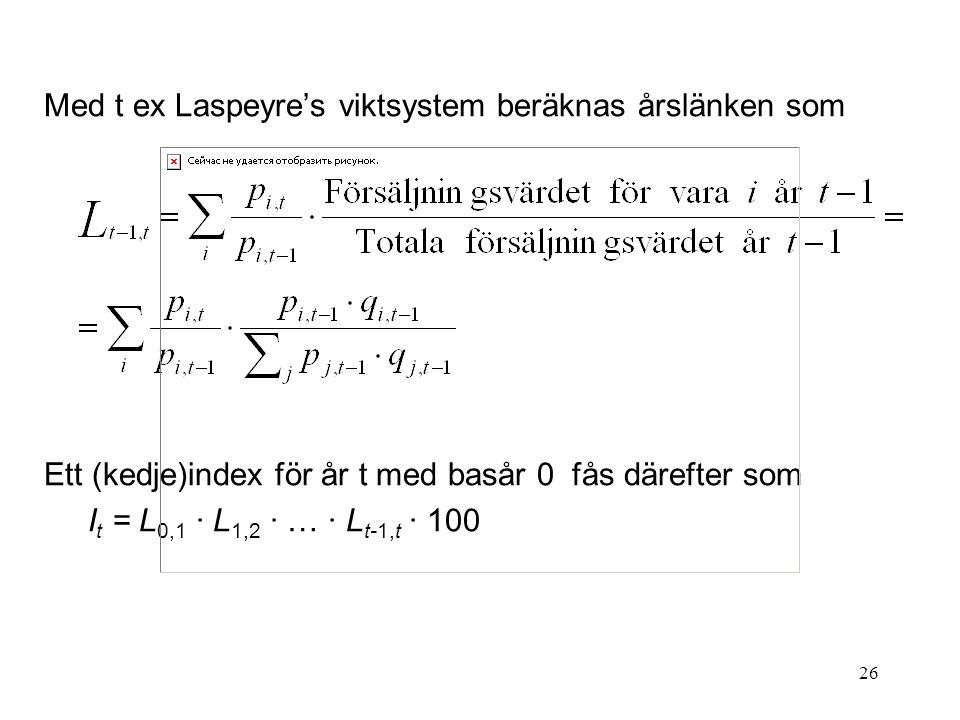 26 Med t ex Laspeyre's viktsystem beräknas årslänken som Ett (kedje)index för år t med basår 0 fås därefter som I t = L 0,1 · L 1,2 · … · L t-1,t · 10