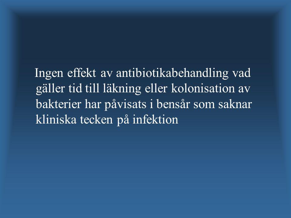 Ingen effekt av antibiotikabehandling vad gäller tid till läkning eller kolonisation av bakterier har påvisats i bensår som saknar kliniska tecken på infektion