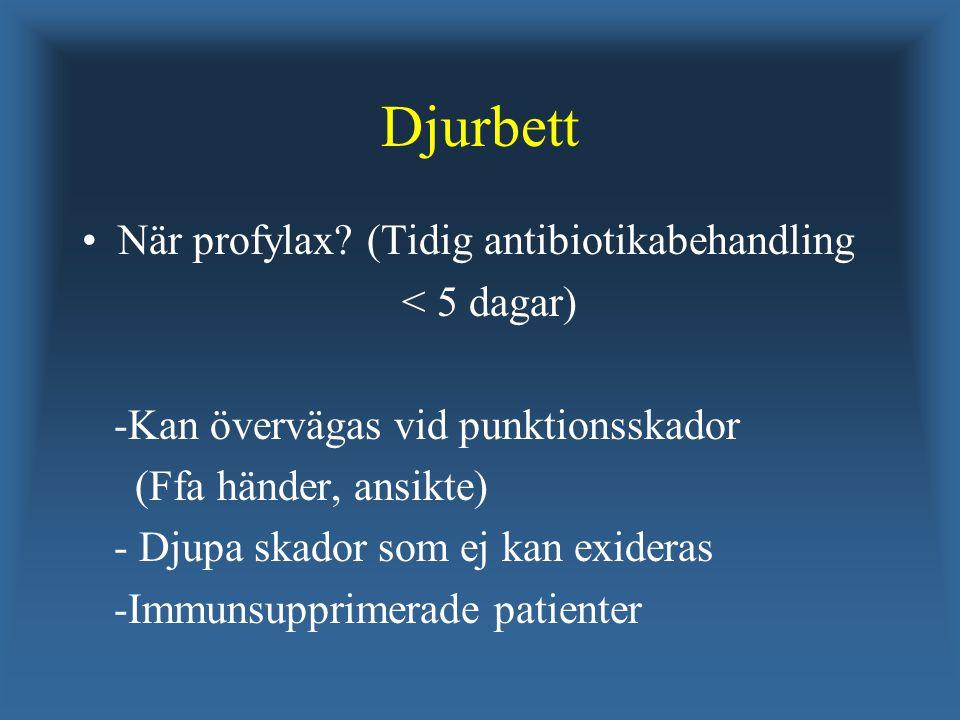 Djurbett När profylax? (Tidig antibiotikabehandling < 5 dagar) -Kan övervägas vid punktionsskador (Ffa händer, ansikte) - Djupa skador som ej kan exid