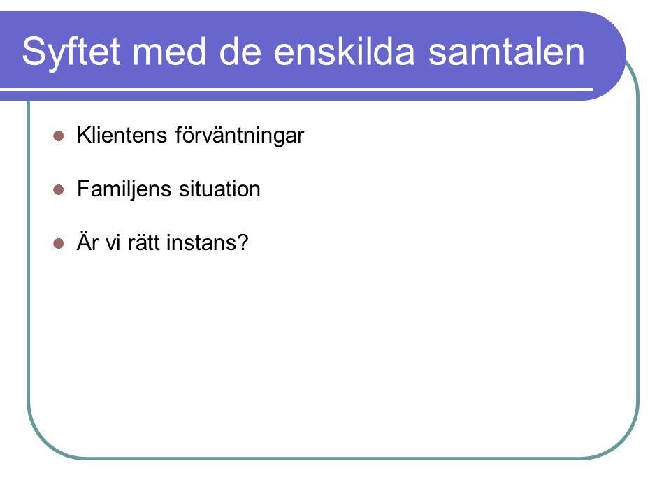 Syftet med de enskilda samtalen Klientens förväntningar Familjens situation Är vi rätt instans?