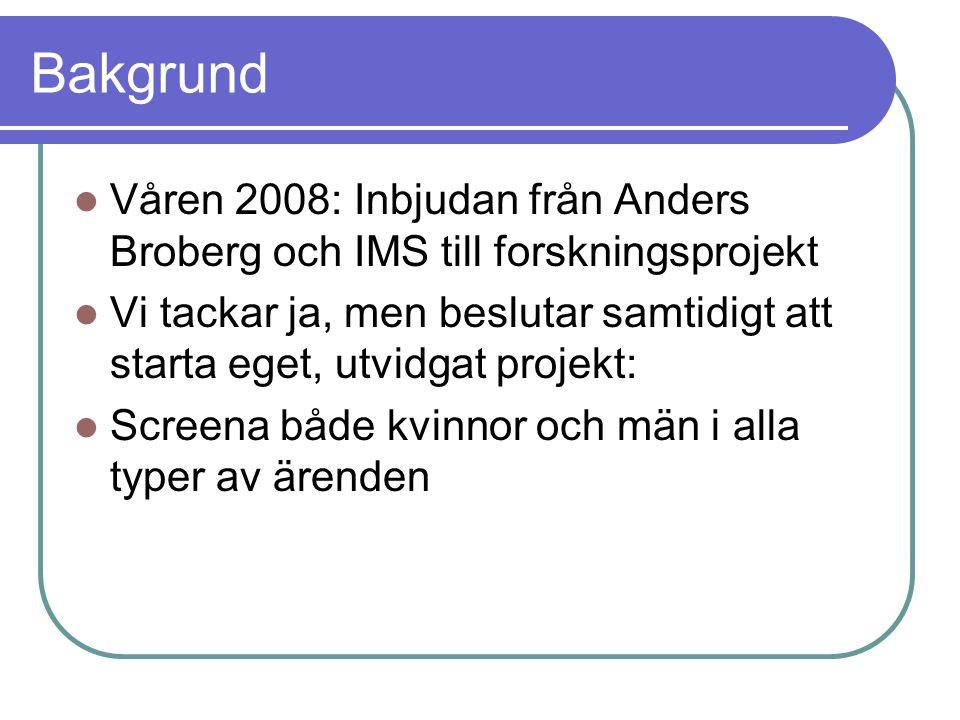 Bakgrund Våren 2008: Inbjudan från Anders Broberg och IMS till forskningsprojekt Vi tackar ja, men beslutar samtidigt att starta eget, utvidgat projekt: Screena både kvinnor och män i alla typer av ärenden Inrätta särskild mottagningsgrupp för samarbetssamtalsärenden