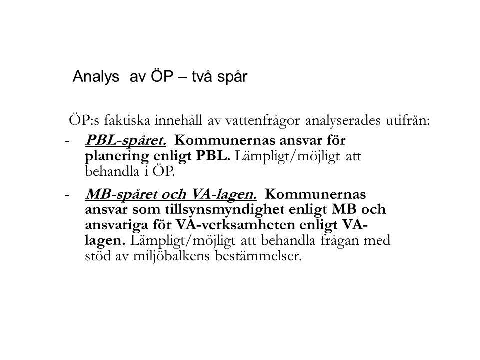 Analys av ÖP – två spår -PBL-spåret. Kommunernas ansvar för planering enligt PBL. Lämpligt/möjligt att behandla i ÖP. -MB-spåret och VA-lagen. Kommune