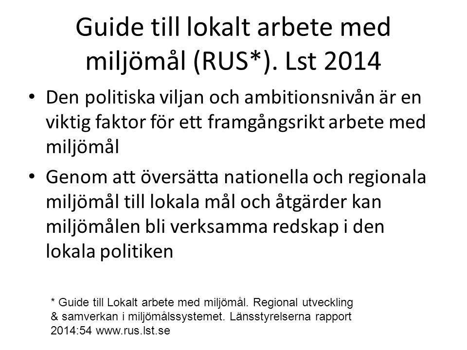 Guide till lokalt arbete med miljömål (RUS*).