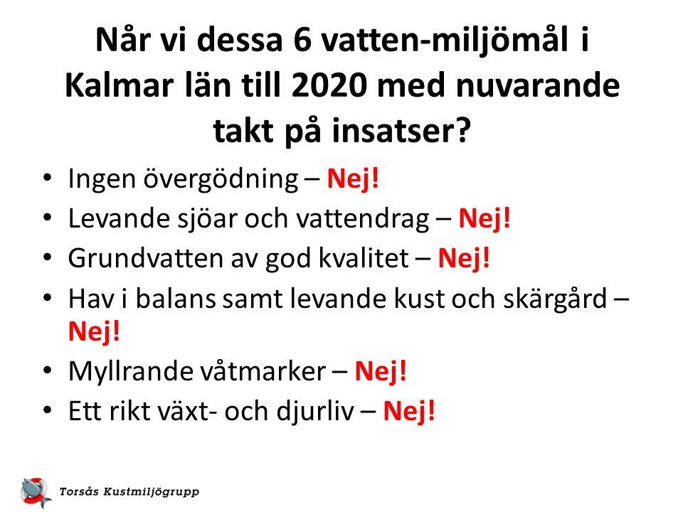 Når vi dessa 6 vatten-miljömål i Kalmar län till 2020 med nuvarande takt på insatser.